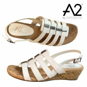 A2 By Aerosoles Cork Wedge White Strappy Sandals
